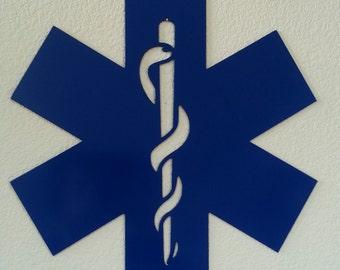 EMT Star of life metal wall art