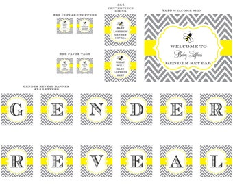Dark Gray and Yellow What will baby bee Gender Reveal Bumble Bee Party Package Set