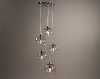 5 - Port Canopy Hanging Light Fixture - Brushed Nickel Finish