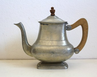 SALE 50 OFF Vintage Pewter Coffee Pot Wooden Handle Rustic Decor Heavy Tin