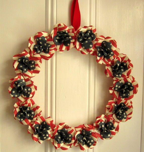Patriotic  Americana Wreath Red, White, and Blue Paper Rose Wreath