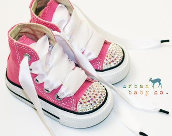 Infant, Toddler High Top Baby Girl Pink Converse® All Star® Chuck Taylor's® With White Ribbon Laces & Swarovski® Crystal Rhinestones