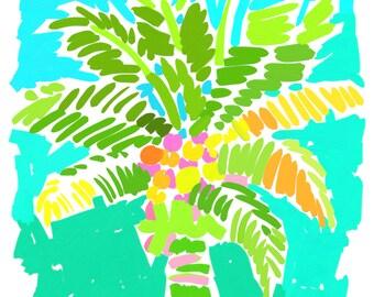 Art Print 16x20 Green Palm Tree w/ Aqua by Kelly Tracht, Preppy Palm Tree Painting Palm Beach Regency, Item #1N