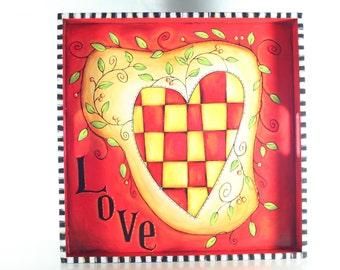 Handpainted Wooden Serving Tray, Whimsical, Red, Heart, Black & White Checkerboard, Beth Baker Artist