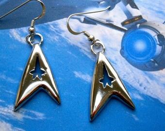 Silver Star Trek earrings