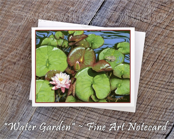 Wildlife Note Cards - Water Lily Note Cards - Water Lily Prints - Frog Prints - Lily Pads and Frog - Water Wildlife Prints - Wildlife Cards