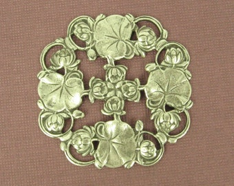 Exquisite Antique Silver Stamping of Lily Pad in Full Bloom - 48mm  Amazing