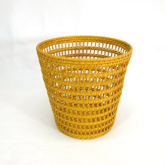 Wicker waste basket mustard yellow original paint by retrohand - Wicker trash basket ...