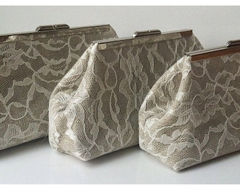 Burlap and Lace Clutch Set