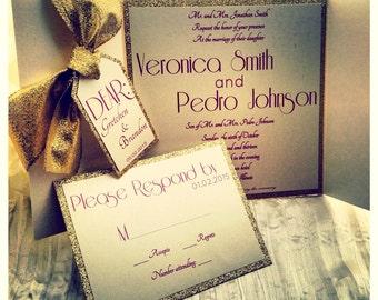 Gold Wedding Invitations, Great Gatsby Wedding Invitations, Gatefold Wedding  Invitations