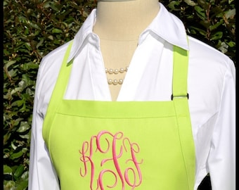 Lime Green Monogrammed Apron - Personalized Chefs Gift Idea Bakers Womens Wedding Dress Girls Bridal bridemaids preppy hot pink colors