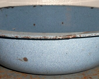 Vintage Wash Basin, Bowl, Enamel, Blue, Large, Primitive, Enamel Ware, Rustic, Enamelware