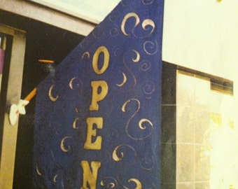 "SHOP owners , hang this eye catching original ""Open""  flag"