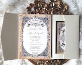 Black and gold wedding invitation. Royal wedding invitesOpulent. Gold wedding invitation suite. Custom wedding invitations.