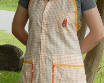 Orange Checkered Apron with Cat Detail from Man's Shirt