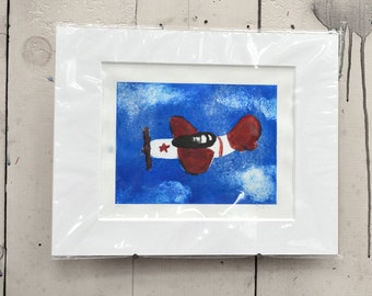 "Red and White Plane One of a Kind Monoprint 14x11""  100% of the profits go directly to artists with disabilities Item 12 Joe V."