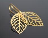 Gold skeleton leaf earrings, gold leaves earrings, simple everyday jewelry.