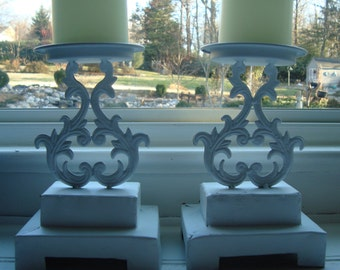 Two Upcycled Ornate Candle Holders, French Country, Shabby Chic [C]
