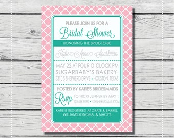 Pink & Aqua Bridal Shower Invitation. Anthropologie inspired invitation. {DIGITAL PRINTABLE INVITATION} Bridal Shower or Baby Shower.