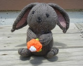 Knit Bunny, Hand Knit Rabbit, Stuffed Bunny, Gift for Easter, Easter Bunny, READY TO SHIP, Bunny With Flower,Handmade Gift