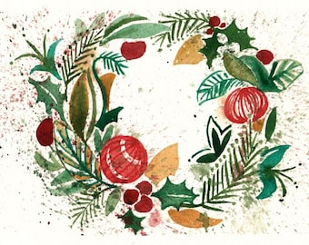 """Christmas Cards: Original Watercolor Prints of Christmas Painting CARDS 5""""X7"""" Set of 5 with Envelopes by Kristin Glaze van Lieshout"""
