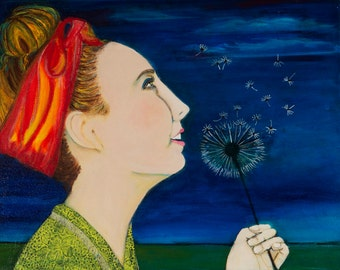 Teenage girl, Dandelion Prayers, Art Print,