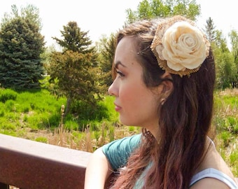 Burlap and flower headpiece, fascinator, hairpiece, wedding, veil,