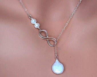 SALE.Double Infinity Necklace, Sterling Silver Infinity Lariat Necklace. infinity necklace,Infinity Lariat Pearl Neckalce.Bridesmaid jewelry