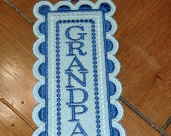 "Embroidered Bookmark  - ""Grandpa"" - Blues"