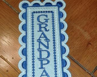 """Embroidered Bookmark  - """"Grandpa"""" - Blues"""