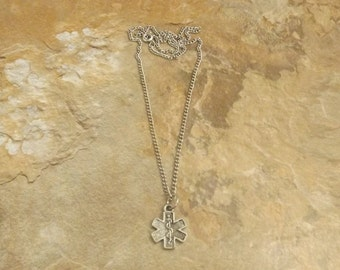 Pewter EMT Cross on a Link Chain Necklace - Free Shipping in the US - (5540)