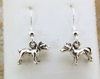 Sterling Silver Petite Pit Bull Dangle Earrings on Sterling Silver French Hook Ear Wires - 3058