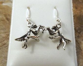 Sterling Silver Praying Mantis Dangle Earrings on Sterling Silver French Hooks-1399