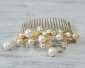 Gold White Bridal Hair Comb, Wedding Hair Accessories, Gold Leaves Freshwater Pearls, Hair Vine, Wedding Hair Piece