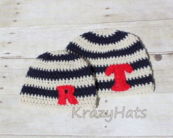 Stripe Beanie with a Felt letter.Made to order.