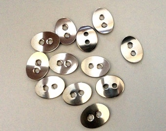SIX oval Stainless Steel Buttons for leather wrap bracelets, leather wrap buttons sliver bracelet clasp,