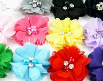 "Bulk 1.5"" Petitie Chiffon Flowers with Rhinestones - You Choose Color - Chiffon Flowers -  Petitie Chiffon Flower -Hair Accessories Supplies"