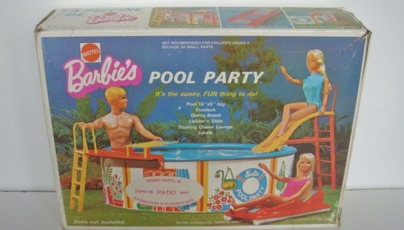 Vintage 1973 Mattel 7795 Barbie Pool Party With Added Feature