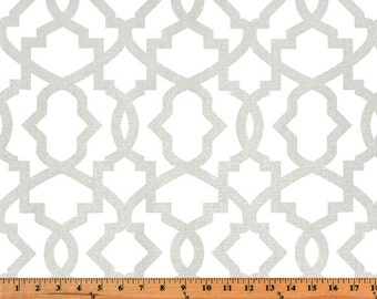 French Pale Light Gray White Sheffield Quatrefoil Trellis Curtains - Grommet - 84 96 108 or 120 Long by 25 50 Wide Optional Blackout Lining