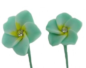 Set of 2 Green Bobby Pins, Hair Flowers, Girls Hair Accessories, Plumeria Hair Pins