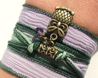 Owl Silk Wrap Bracelet Protection Earthy Yoga Jewelry Purple Green Unique Gift For Her Daughter Teen Christmas Stocking Stuffer Item N12
