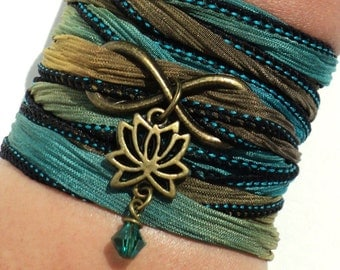 Infinity Lotus Silk Wrap Bracelet Yoga Jewelry Namaste Upper Arm Eternity Love Etsy Forever New Beginnings Stocking Stuffer Yogi Gift M7