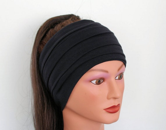 black scarf hair wrap hair accessories headband by byroxi