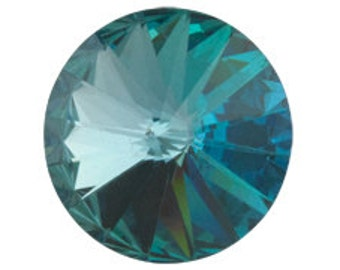 Set of 6 Swarovski 1122 Crystal Rivolis 12mm Aquamarine Vitrail Light (sku 467 - 1122-12-AQ-VL)