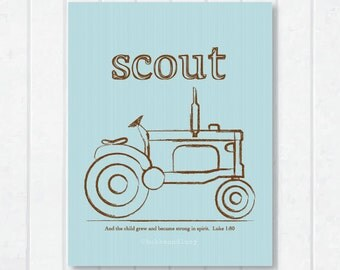 Tractoring . Personalized Scripture Print with Luke 1:80