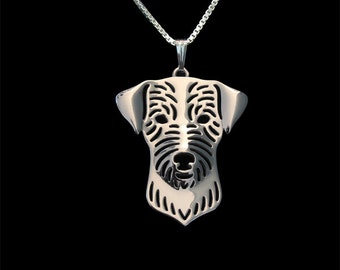 Wirehaired Jack Russell Terrier jewelry - sterling silver pendant and necklace.
