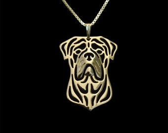 Bull Mastiff jewelry - Gold pendant and necklace