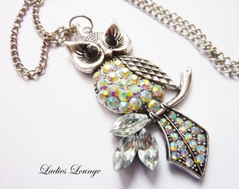 wise Owl, Charm Necklace, Owl, silver Necklace, Chrystal Necklace