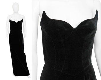Thierry Mugler 1990s Vintage Wing Bustier Evening Dress Black Velvet Maxi Gown Designer Red Carpet Fashion Size 4 XS