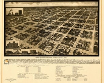 AMARILLO TEXAS 1912 Bird's Eye View Panoramic Map Digitally Remastered Poster Digital Download